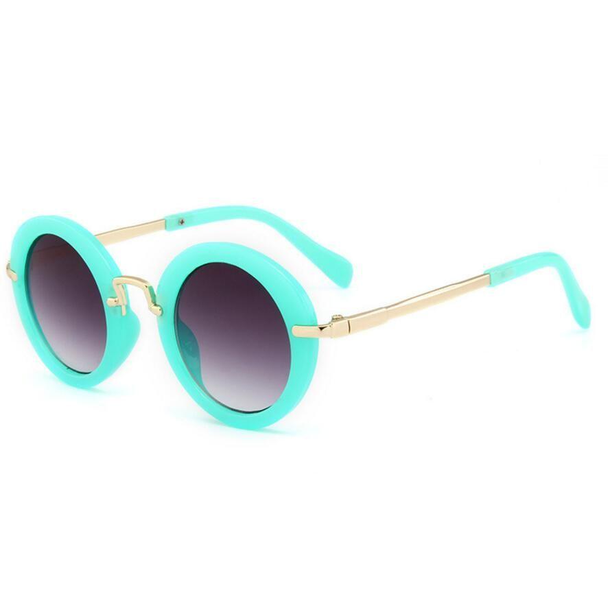 Fashion Round Cute Kids Sunglasses Brand Metal Frame Sunshade Anti-UV Boys Sun Glasses Baby Vintage Children Glasses Gift
