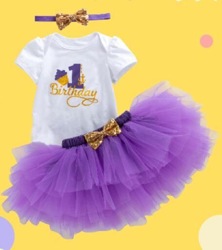 ab99bc2c5caf ins Baby Girl 1st Birthday Princess Tutu Skirt 0-24 Month Newborn Infant  Rompers Dresses Cotton Rompers+4 layer Tutu skirt+Headband=3PCS/Set