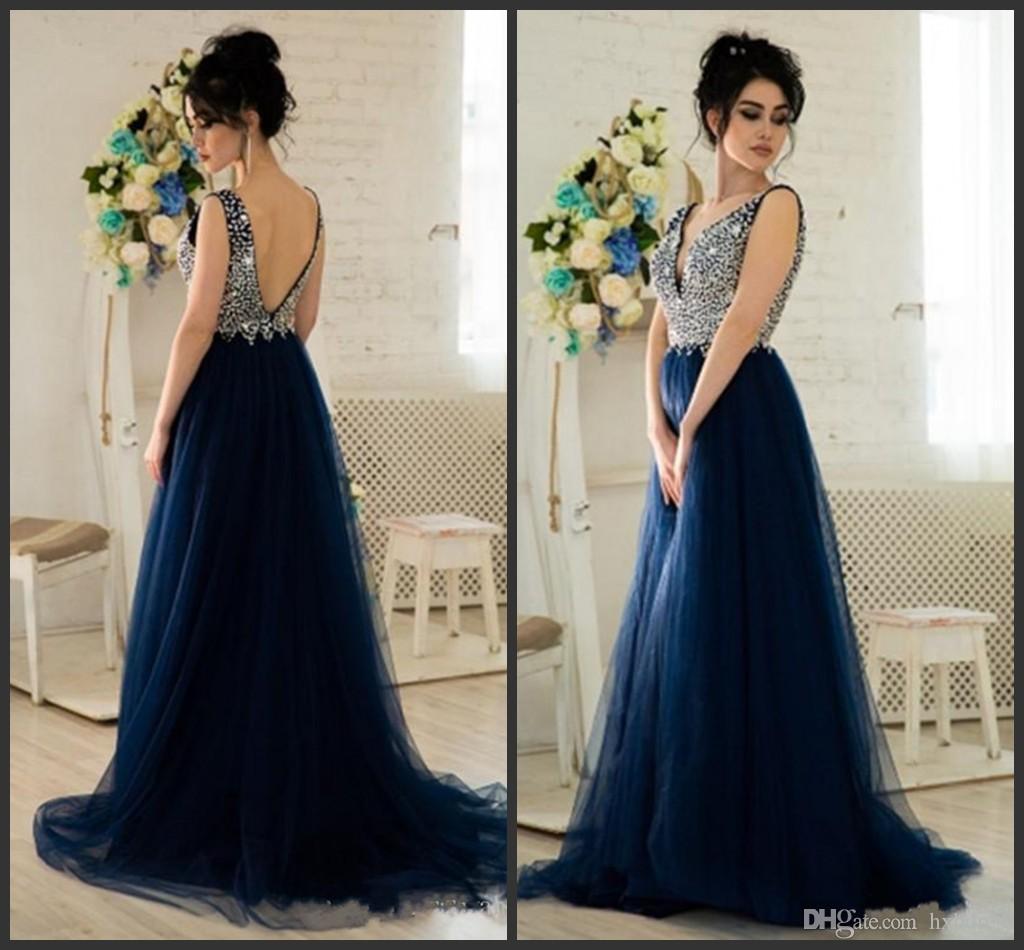 Vestido Azul Noche Largo Nueva Moda Mundial 2019