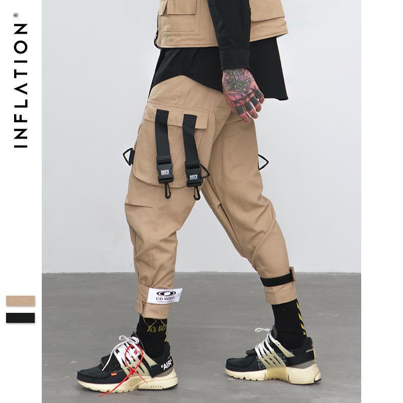 arrive rechercher l'original prix limité INFLATLION Loose Fit taille élastique Cargo Pants Street Pantalon à la  cheville à rayures Grandes poches Casual Fashion Cargo 8884W