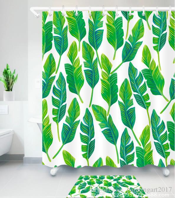 2018 Green Banana Leaf Shower Curtain Tropical Plants Printing ...