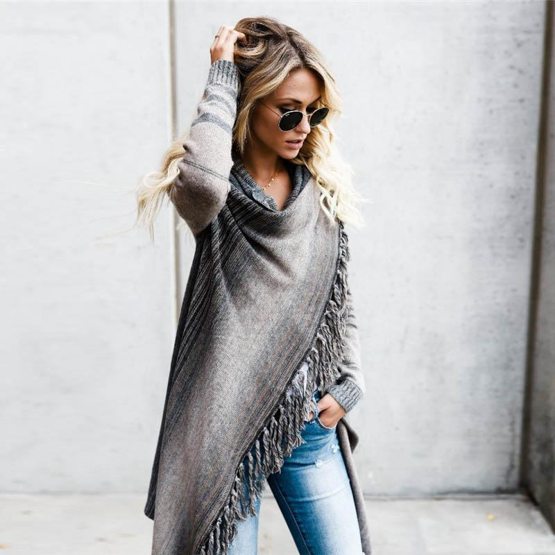 2018 Femmes Pull Gland Hiver Boho Portant Des Rayé Automne Tricoté Cardigan Fête Long Pulls Oversize Streetwear Nn0yv8mOw