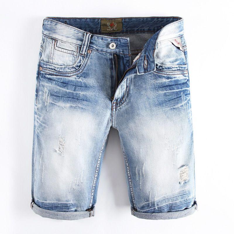 0a70744f3f67ce Acquista Pantaloncini Da Uomo Di Moda Azzurri Estate Di Alta Qualità Slim  Fit Jeans Lavati Bianchi Strappati Short Da Uomo Di Marca Pantaloncini Di  Jeans ...