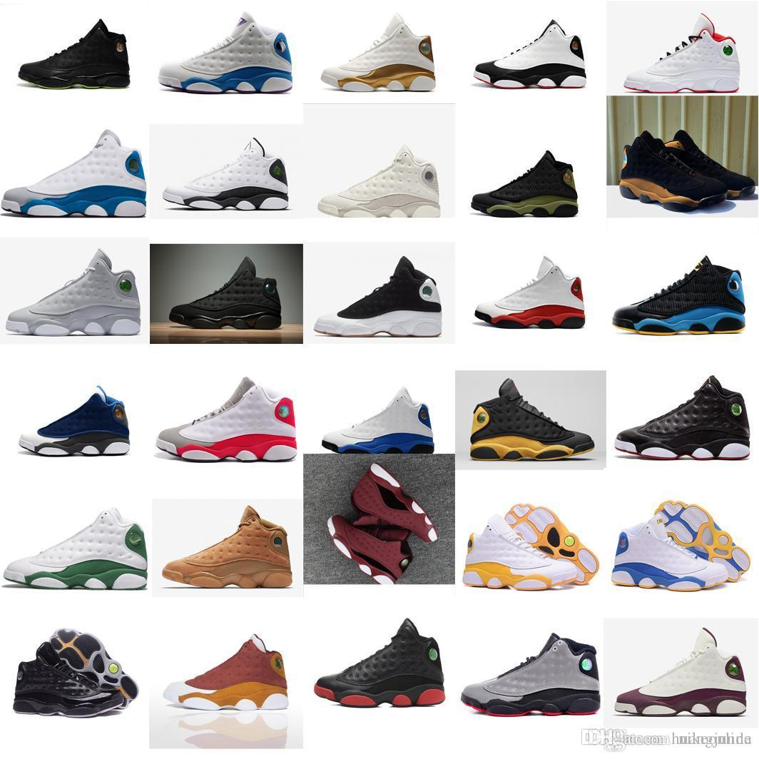 3faab0235ff46 2019 Cheap Mens Jumpman 13 XIII Basketball Shoes 13s Olive Green Suede  Black Red White Bred J13 Air Flights Aj13 Sneakers Boots For Sale With Box  From ...