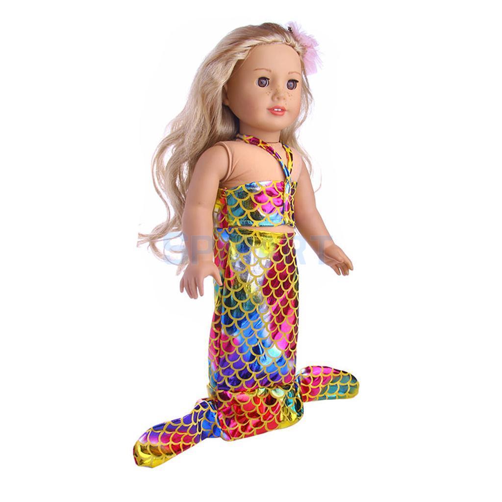 18 بوصة الدمى ملابس حورية البحر الذيل ملابس السباحة لمدة 18 '' فتاة أمريكية جيلنا حياتي رحلة دمية الملحقات