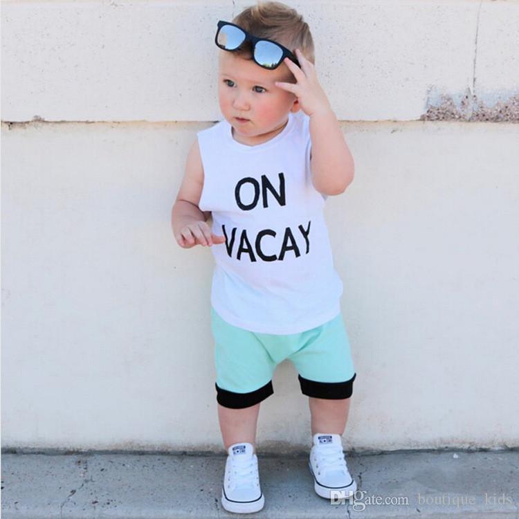 4851af984257d Baby Clothing Sets Boys Clothes Letter Print Tops Vest + Shorts 2pcs 2018  Summer Baby Boy Suit Boutique Infant Toddler Kids Clothing boys