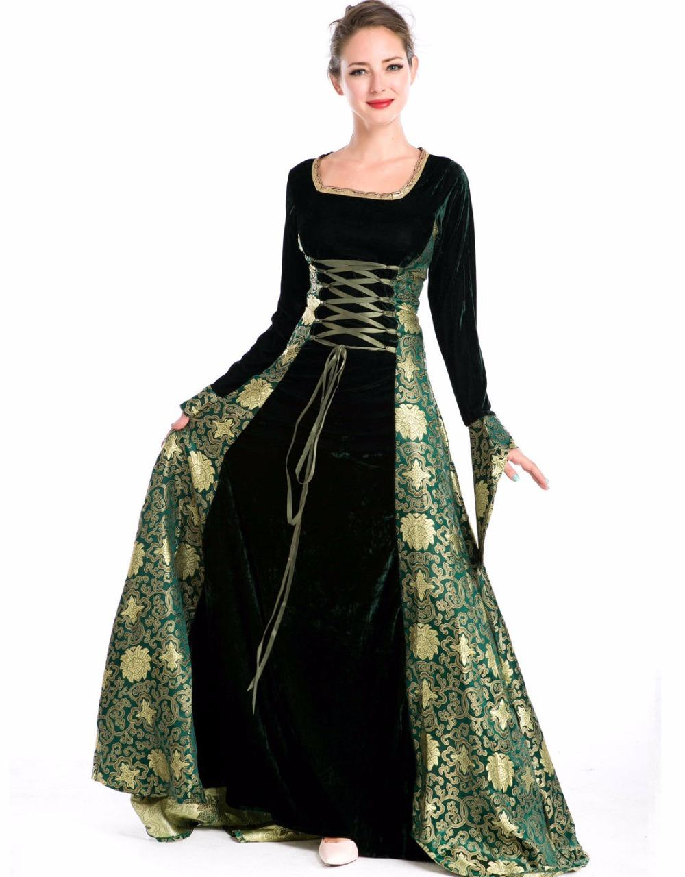 2018 Green Long Medieval Dress Gown Renaissance Dress Costume From ...