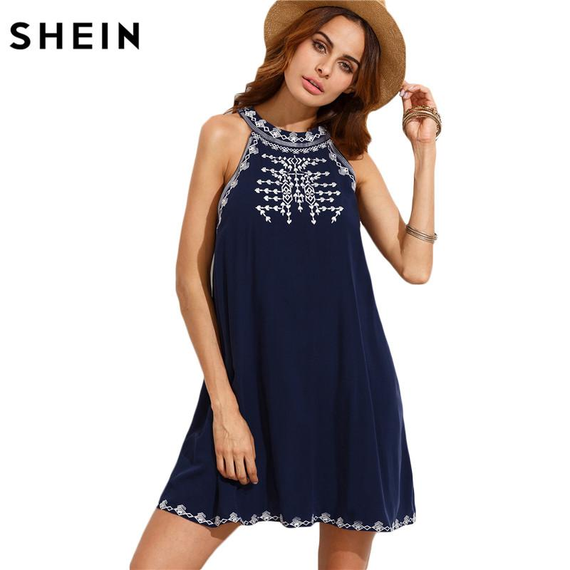 6bc0dfbf8756 Wholesale Women Summer Casual Short Dresses Ladies Navy Embroidered ...