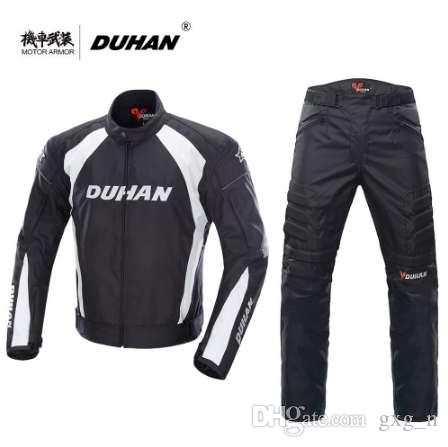 DUHAN Motorcycle Black Jacket Motocross Suits Jacket&Pants Moto Protective Gear Armor Motorcycle Racing Jackets Summer for Men