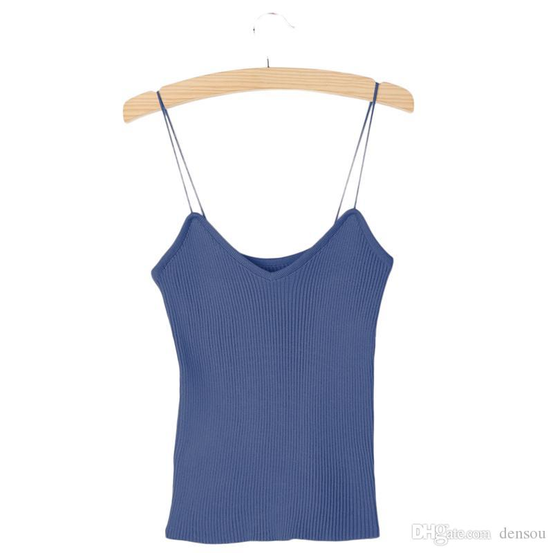 ed030d88d50b6 2019 KLV Knitted Tank Tops Women Summer Camisole Vest Simple Stretchable  Ladies V Neck Slim Sexy Solid Strappy Camis Tops New From Densou