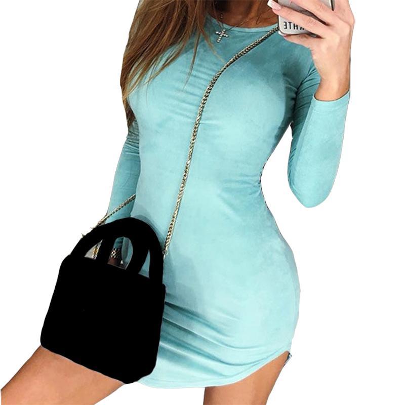 b3b8c9bc06 Compre Moda Mujer Vestido Mini Vestido De Primavera Paquete Bodycon Vestido  De Fiesta De Manga Larga Femme Robe Stretch Sexy Dress Club De Terciopelo  Rosa ...