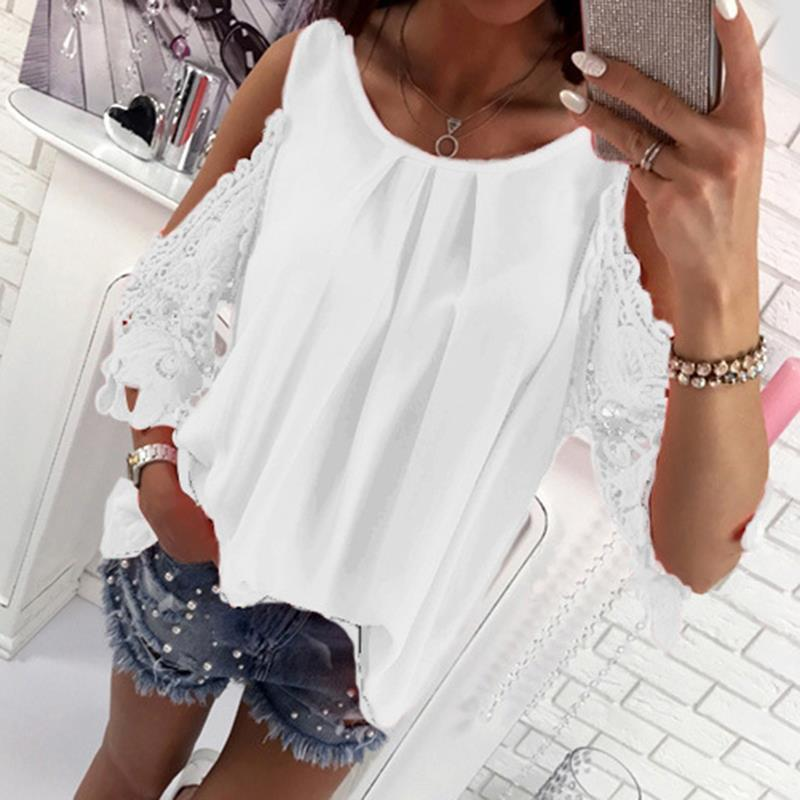 c15213602e82 Summer Chiffon Women Blouses 2018 Casual Sexy Sun-top Half Sleeve Lace  Patchwork Shirts Off Shoulder Tops Solid Plus Size Online with $32.28/Piece  on ...