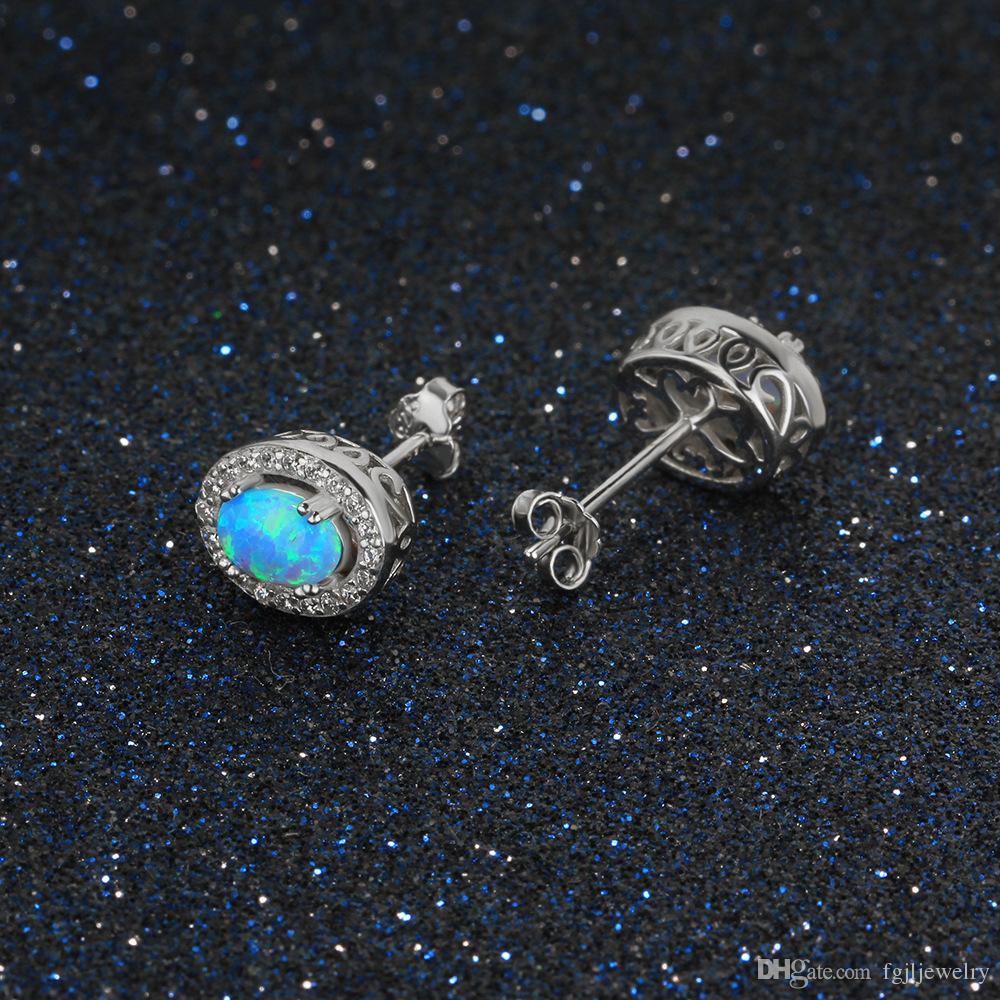 Chinese supplier Charming jewelry Women Gift S925 Sterling Silver synthetic oval shape opal stud earring Popular jewelry ear stud