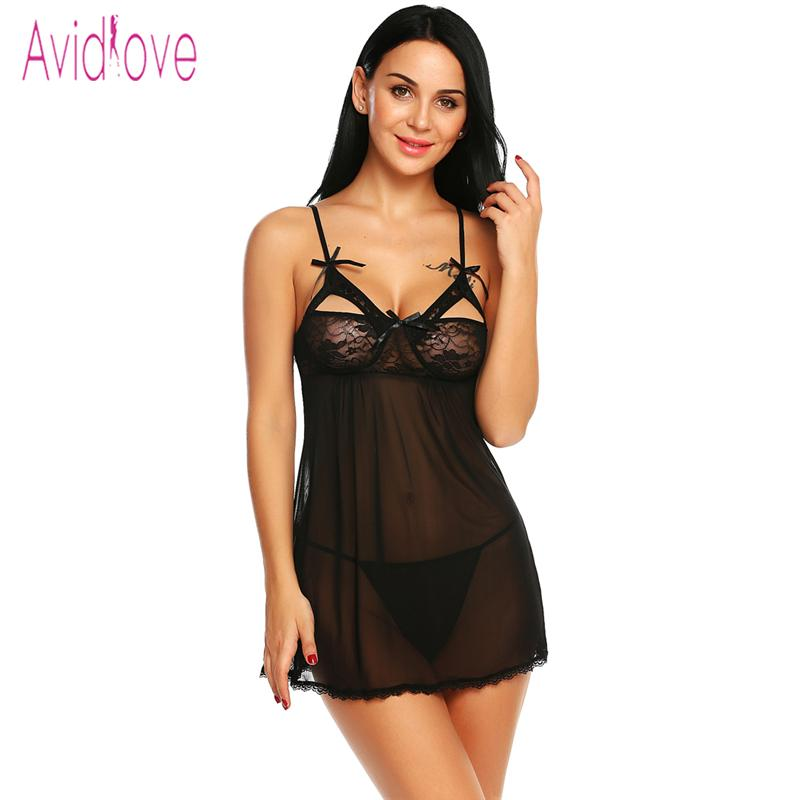 cce1bac79b4ac Avidlove Sexy Lingerie Dress Babydoll Open Cup Backless Lace Mesh Sleepwear  Nightdress With G String Mini Dress Female Costume D18110801 Pajamas Womens  ...