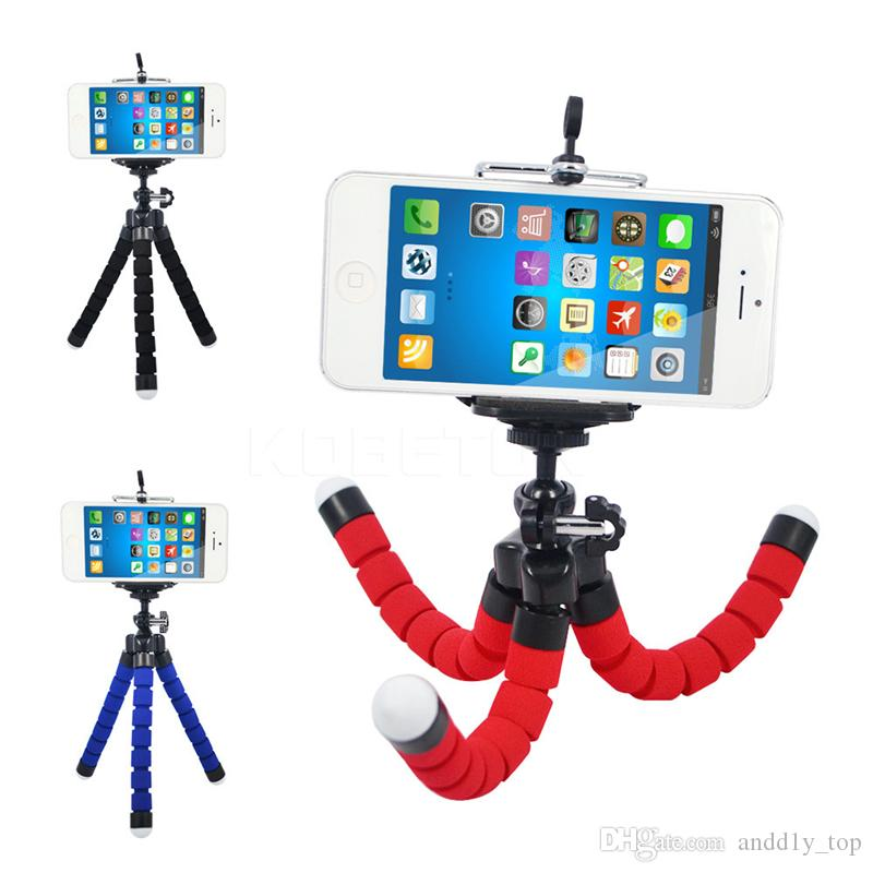 Tripé flexível Tripé Para Câmera Do Carro Do Telefone Celular Gopro Universal Mini Polvo Esponja Suporte Suporte Selfie Monopod Mount Com Clipe