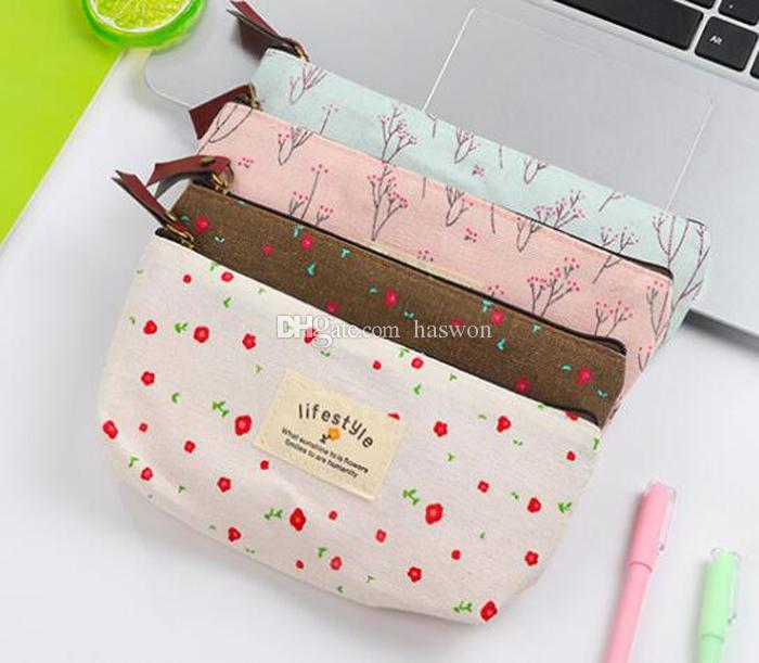 Brand New Womens Flower Floral Pencil Pen Canvas Case Ladies Cosmetic Small Makeup Tool Bag Storage Pouch Purse Free Ship