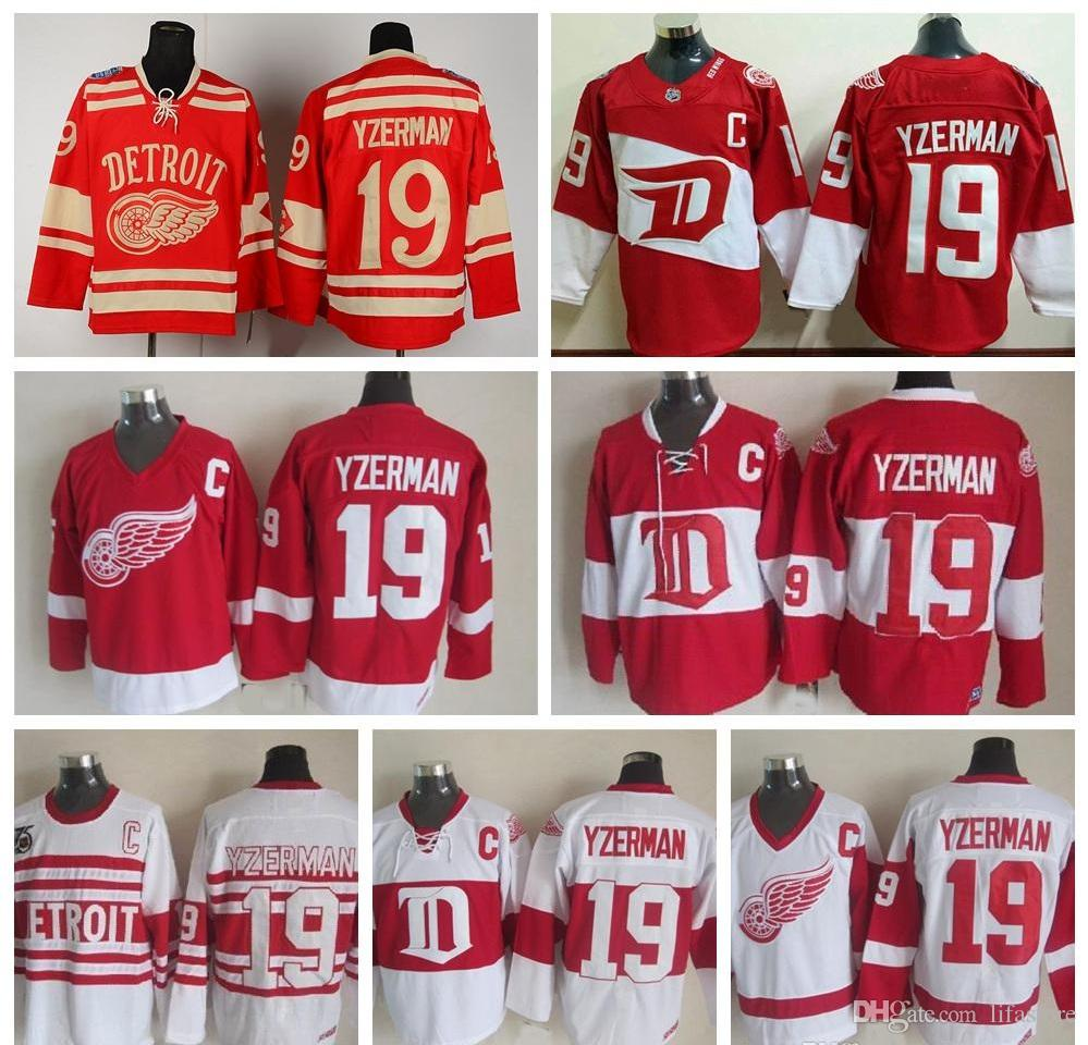 Online Cheap Mens Throwback Detroit Red Wings #19 Steve Yzerman Hockey  Jerseys Home Red Vintage Winter Classic Red White Steve Yzerman Jersey C  Patch By ...