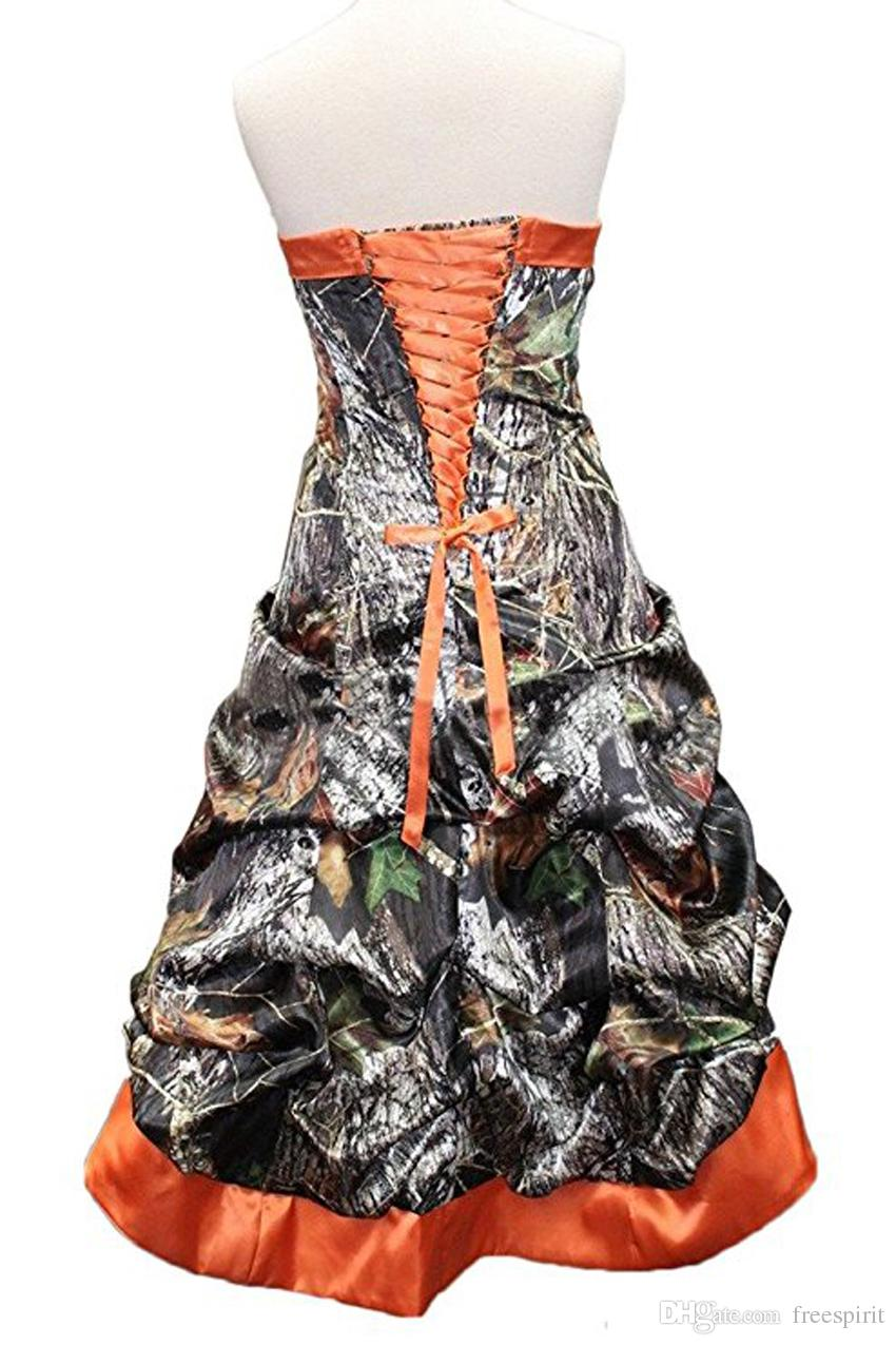 Camo Print Pattern Short Bridesmaid Dress Strapless High Low Prom Wedding Party Gown Orange Camouflage Custom Made