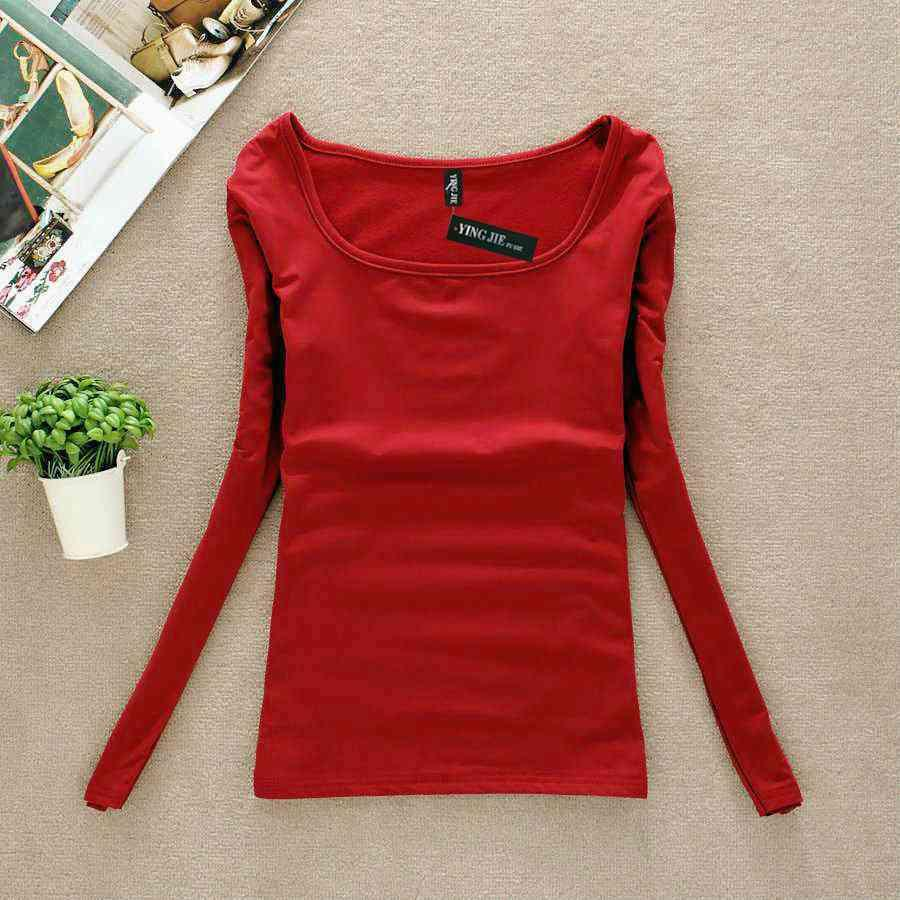 Nueva Mujeres De Térmica Femenina Para Interior Invierno Larga Camisetas Mujer Camiseta Rojas Ropa Manga 9eWD2YIbEH