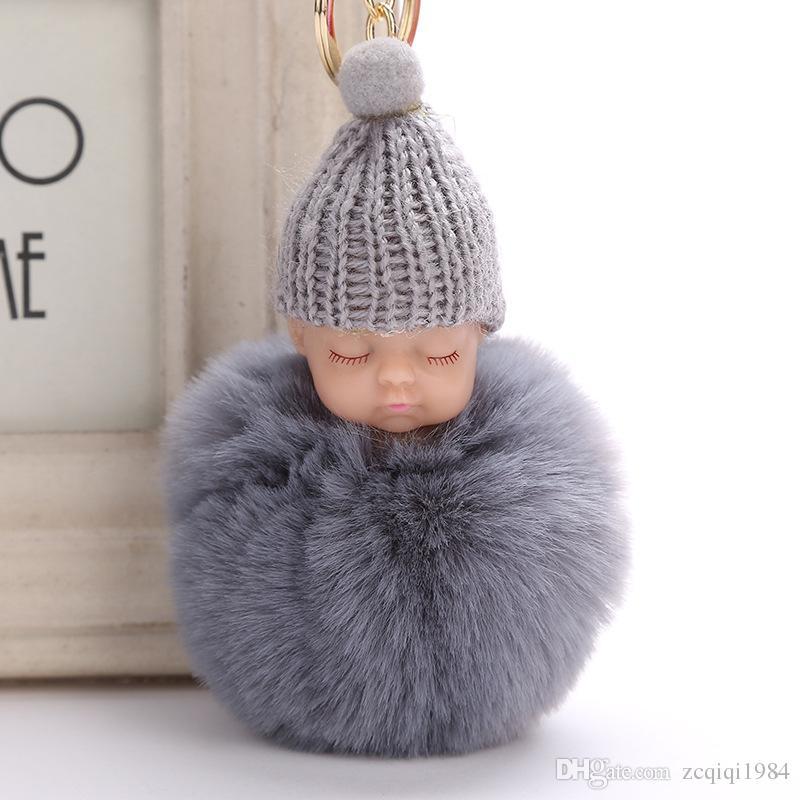 Dolce soffice pompon sonno catena chiave del bambino Faux pelliccia di coniglio Pom pon cappello lavorato a maglia baby doll portachiavi auto portachiavi giocattolo regali alla moda
