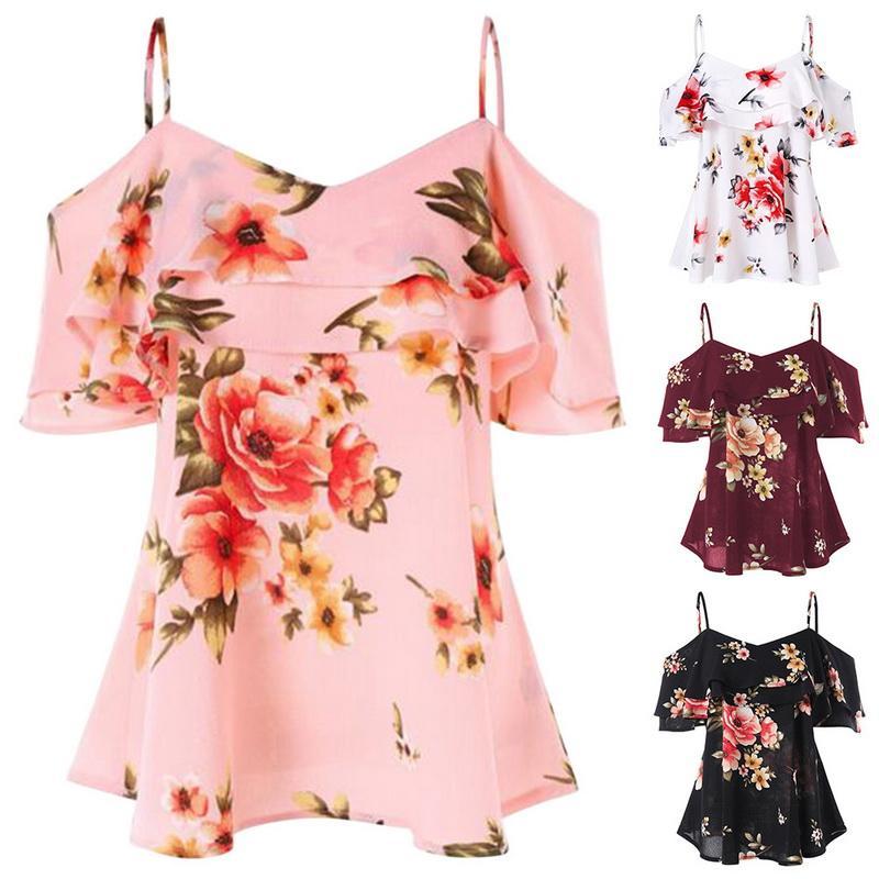 7e7987ba7f3e NIBESSER Verano Mujeres Blusas Florales Sexy Impresión Off Hombro Camisa  Sin Mangas Chaleco Tank Tops Blusa blusas feminina 2018 Nuevo