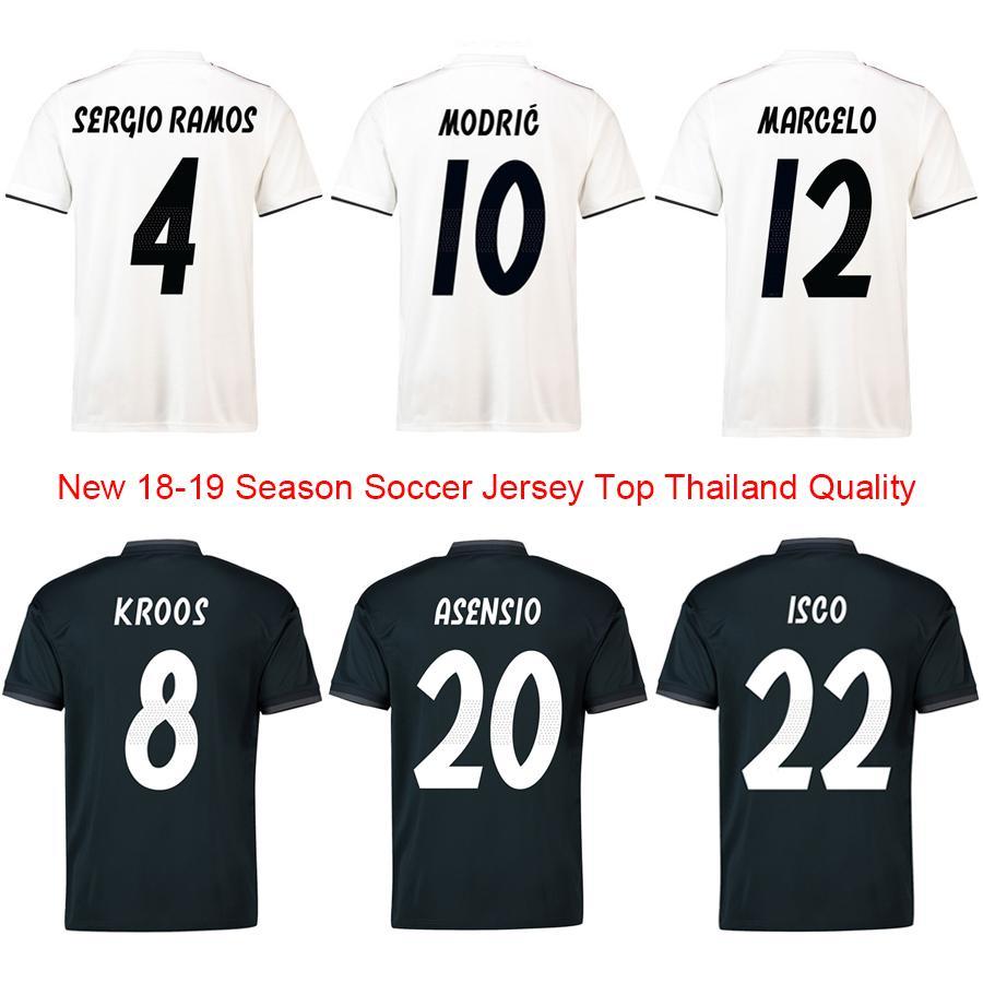 965782985272d Compre 2018 19 Novo Top Melhor Qualidade Tailandesa Madri Casa Fora Homens  Sergio Ramos Modric Kroos Camisas De Futebol Masculino Isco Bale Camisa De  ...