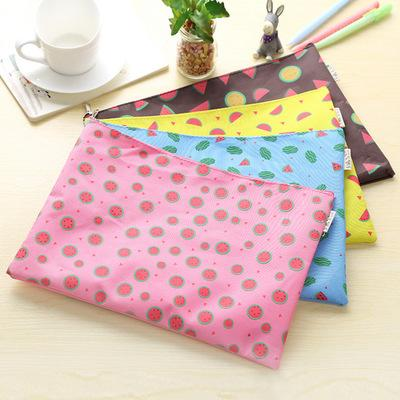 Cute and Fresh Fruit Watermelon Pattern Zipper Cosmetic Bag Sweet and Beautiful Canvas Paper Bag Stationery A4 Document Bag Office Supplies