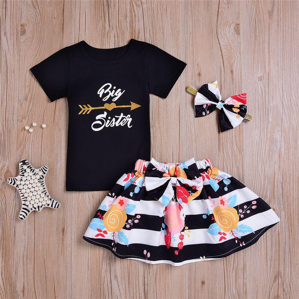 2e1389dda3b2b 3Pcs/Set Fashion Little Big Sister Girls Floral Flowers Letter Romper  T-shirt & Dress & Headband Baby Girl Romper Outfit Set