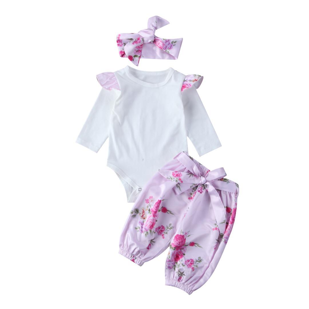 Lovely 3pcs Baby Clothes Sets Newborn Infant Babies Girls Long Sleeve Bodysuit Floral Printed Pants Headband Clothing Outfits Set 0-24m Clothing Sets