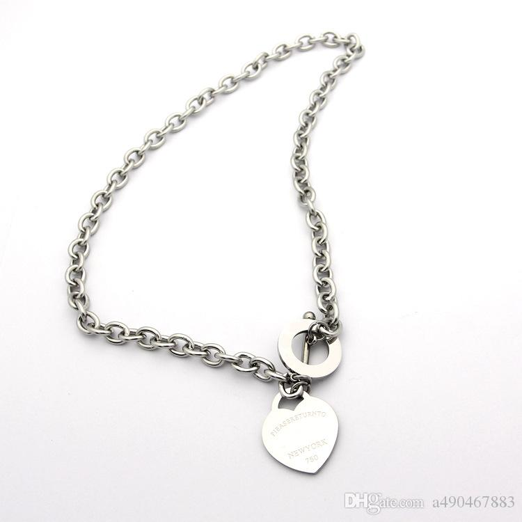 marca famosa jewerly 316L acciaio al titanio oro 18 carati placcato collana corta catena ciondolo cuore argento uomo collana le donne regalo di coppia