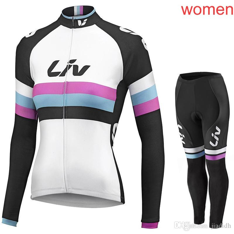 74883ed67 LIV Team Cycling Long Sleeves Jersey Bib Pants Sets Cycling Jersey Sets  Spring Autumn Sport Suit Hot Sale Bikes Clothes C1411 Waterproof Cycling  Jacket ...