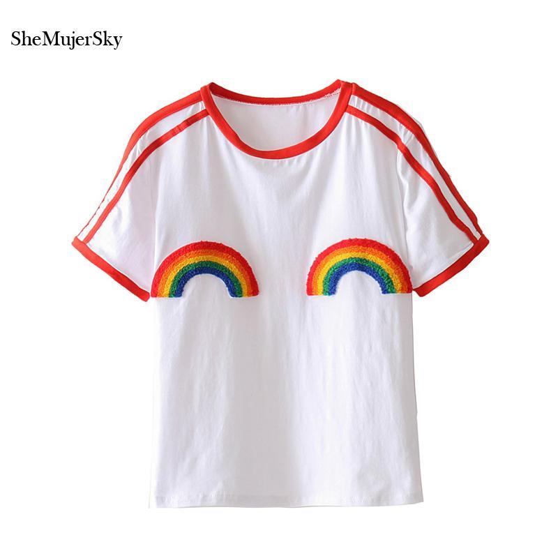 Großhandel Shemujersky Weiß T Shirt Frauen Oansatz Regenbogen T