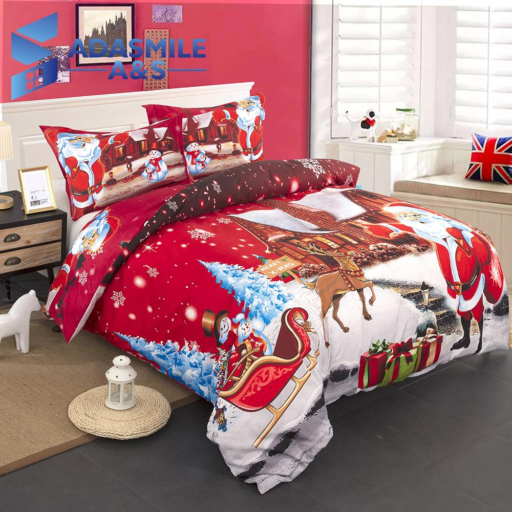 Childrens Bed Bedclothes Santa Claus Micorefiber Soft Bed Duvet Cover 3d Printed Merry Christmas Red Uk Double King Bedding Set