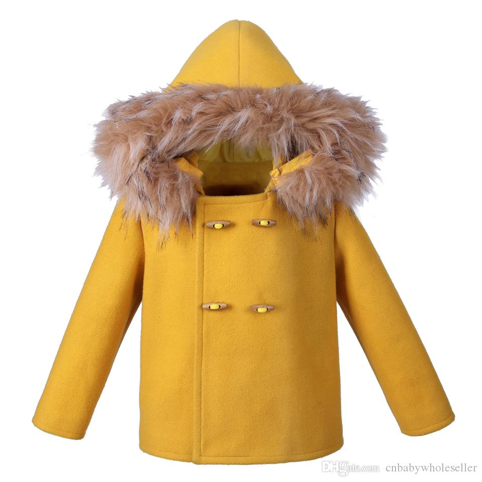 90172ad34 Pettigirl Yellow Boys Coats Faux Fur Hooded Warm Children Winter ...