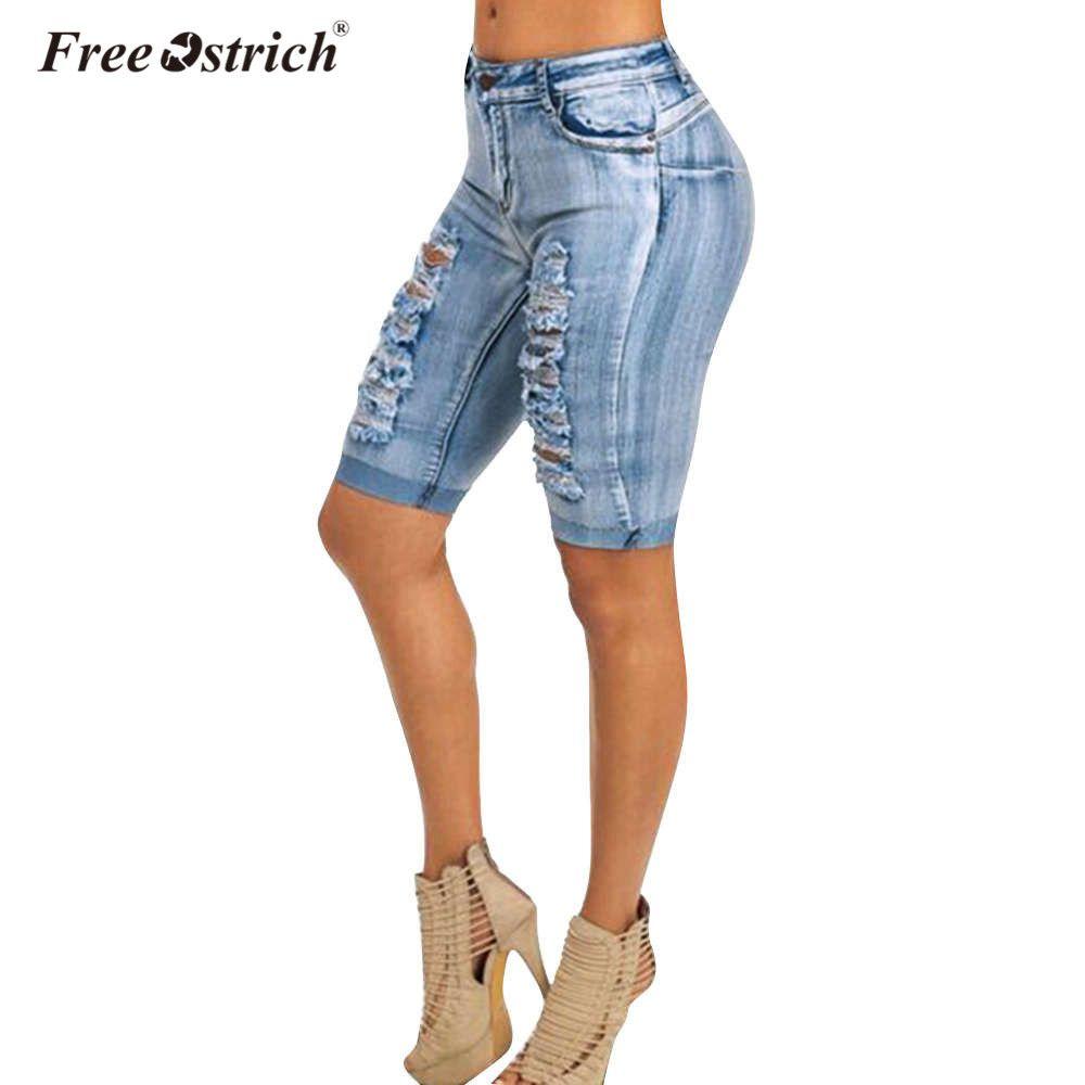 9c69ce6313 Compre Denim De Avestruz Sin Tirantes Hasta La Rodilla Jeans 2018 Mujer  Ropa Sencillos Elásticos Lavados Con Mangas De Algodón Agujero De La Moda  Femenina ...