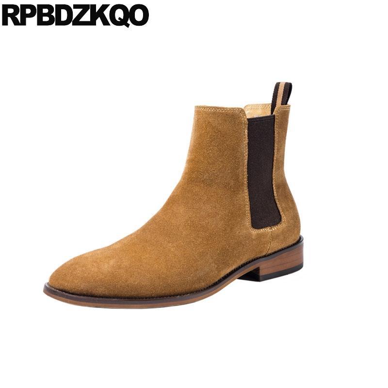 856ddd3b6c2 Compre Botas De Vestir Para Hombre Con Punta En Punta Resbalón En El  Tobillo Otoño Formal 2018 Banquete De Boda De Gamuza Chelsea Otoño Zapatos  Cómodos De ...