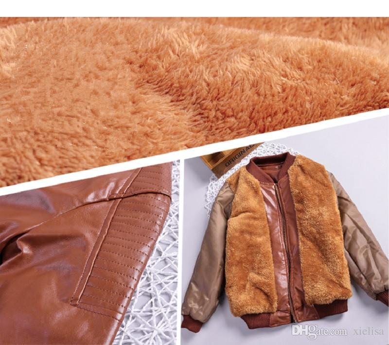 Winter Jacken Jungen Mode Warm Hinzufügen Wolle Lederjacke Neue Jahr Oberbekleidung Für Kinder Blau Pelzmäntel Für Jungen 14 Jahre