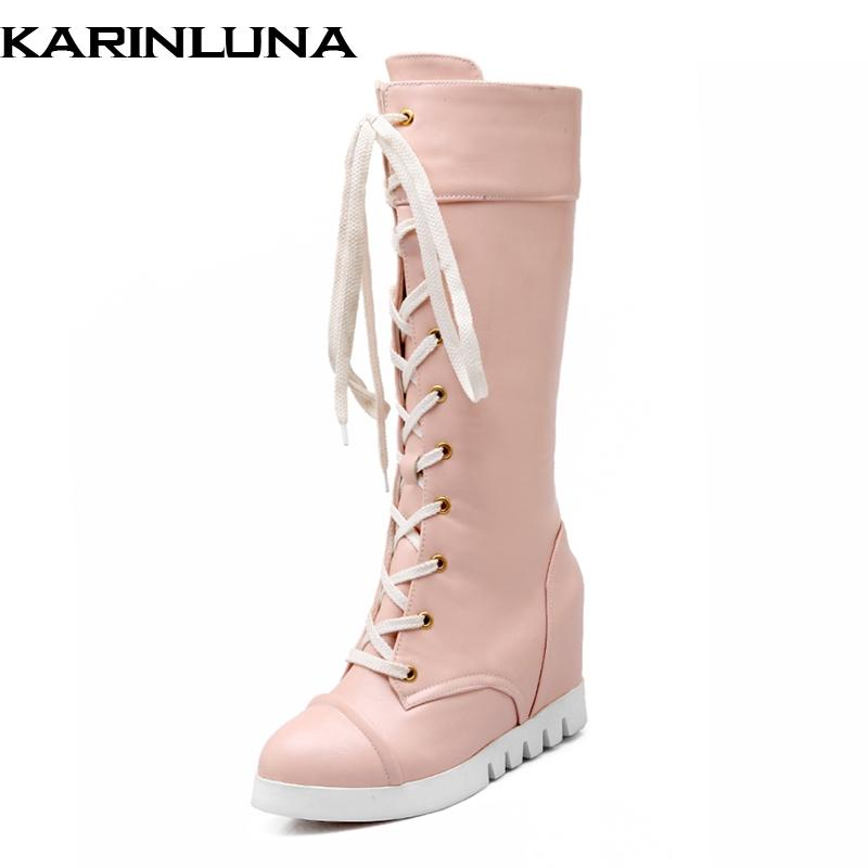 8068fa2b KARINLUNA New Arrivals Wholesale Sweet Height Increasing Autumn Winter  Boots Leisure Comfortable knee-high Boots Shoes Women