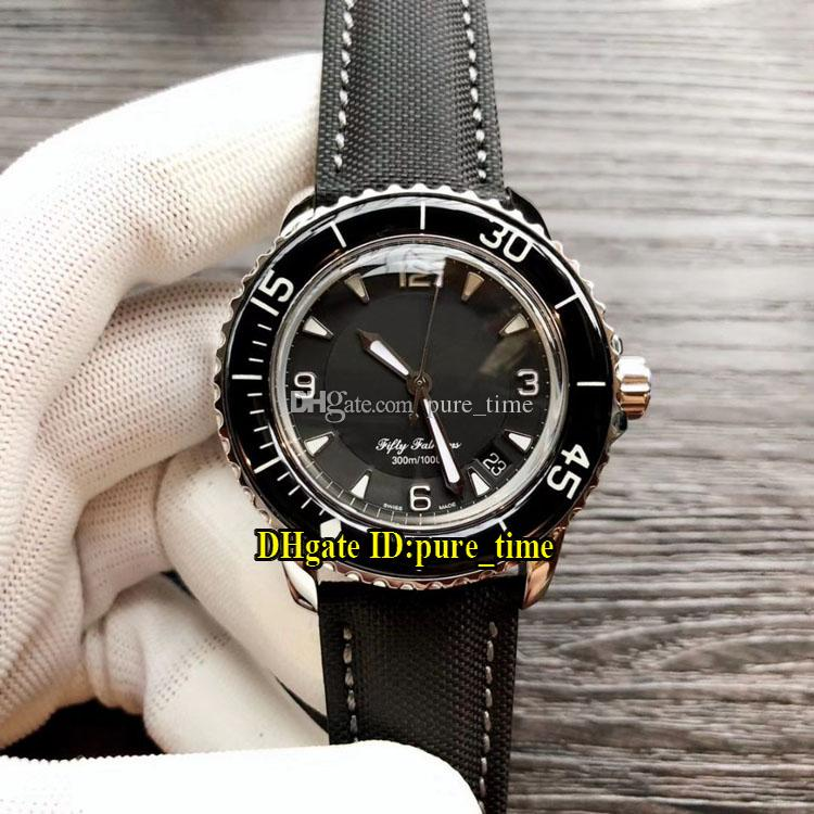 50 Fathoms 5015-1130-52 Black Dial Japan Miyota 8215 Automatic Fifty Fathoms Mens Watch Steel Case Leather Strap Ceramic Bezel New Watches.