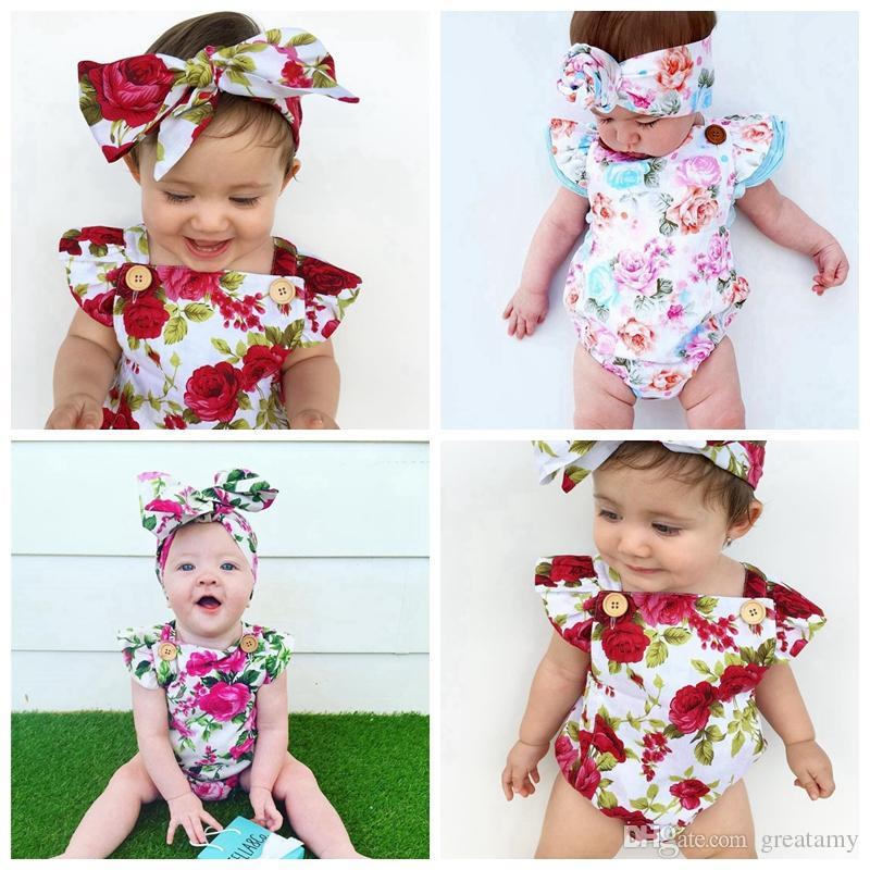 Новорожденный ребенок девочка одежда летний цветок ползунки комбинезон onesies + повязка на голову 2 шт. Детская одежда бутик наряды младенцев девочек малышей 0-24 м