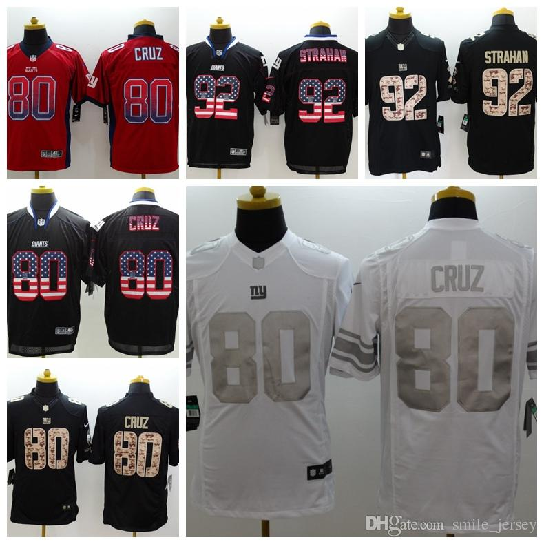 premium selection 4c7db cee05 Mens 80 Victor Cruz New York Jersey Giants Football Jersey 100% Stitched  Embroidery Giants 92 Michael Strahan Color Rush Football Shirts
