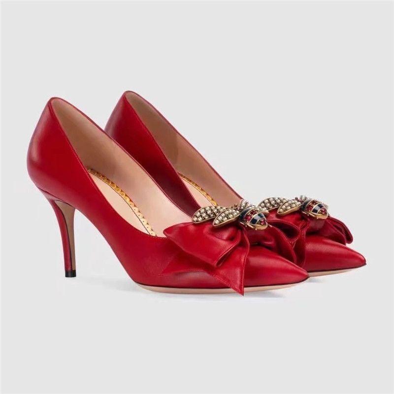 Nova Chegada 2018 Bombas de Salto Stiletto Marca Designer Mulheres Sapatos de Salto Alto Dedo Apontado Bowknot Sapatos de Casamento Vermelho de Couro Genuíno