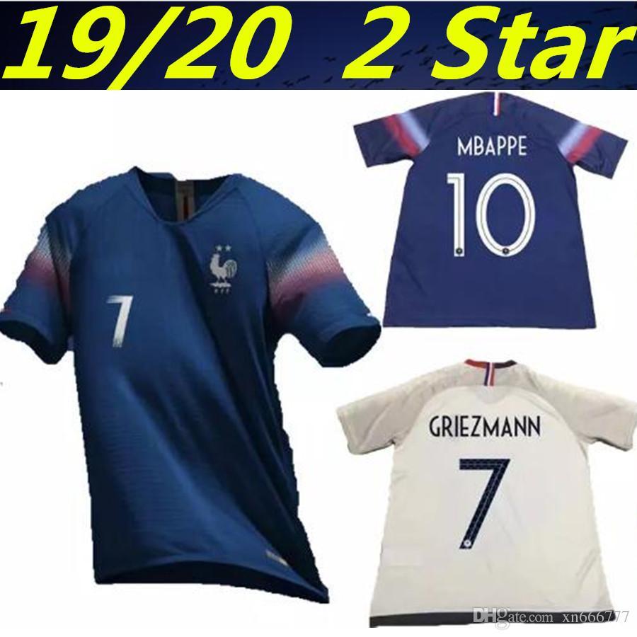 Compre 19 20 New 2 Star França Campeonato Europeu De Futebol GRIEZMANN  MBAPPE Maillot Camisa De Futebol Francesa 2020 KANTE POGBA Maillot De Foot  De ... ef732fd54d97c