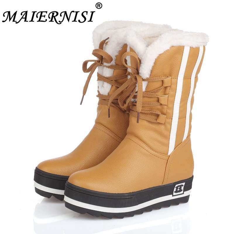 bee8857d5b091 Compre 2019 Zapatos Nuevos Para Mujer Botas Negras Plataformas Impermeables  Zapatos es Botas Para La Nieve De Invierno De Piel Completa Para Mujer  Tamaño ...