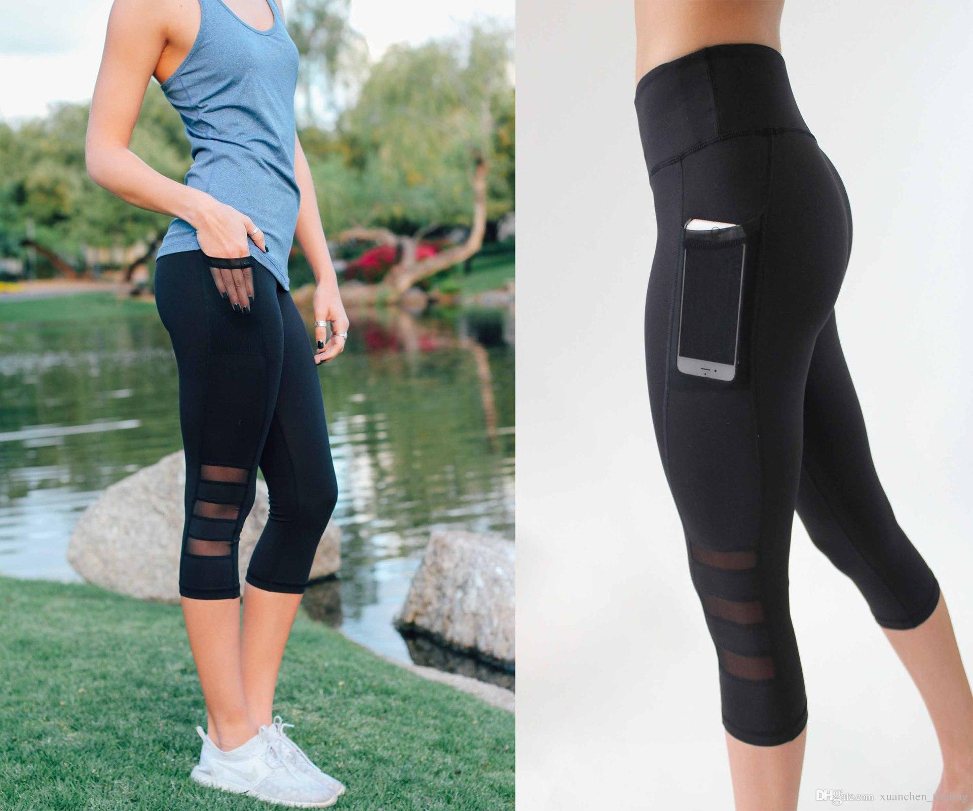 0117f91073809 Black sexy Fitness sporting Capri Pants Women's High waist Elastic Mesh Legging  pants with pocket Cropped trousers leggings