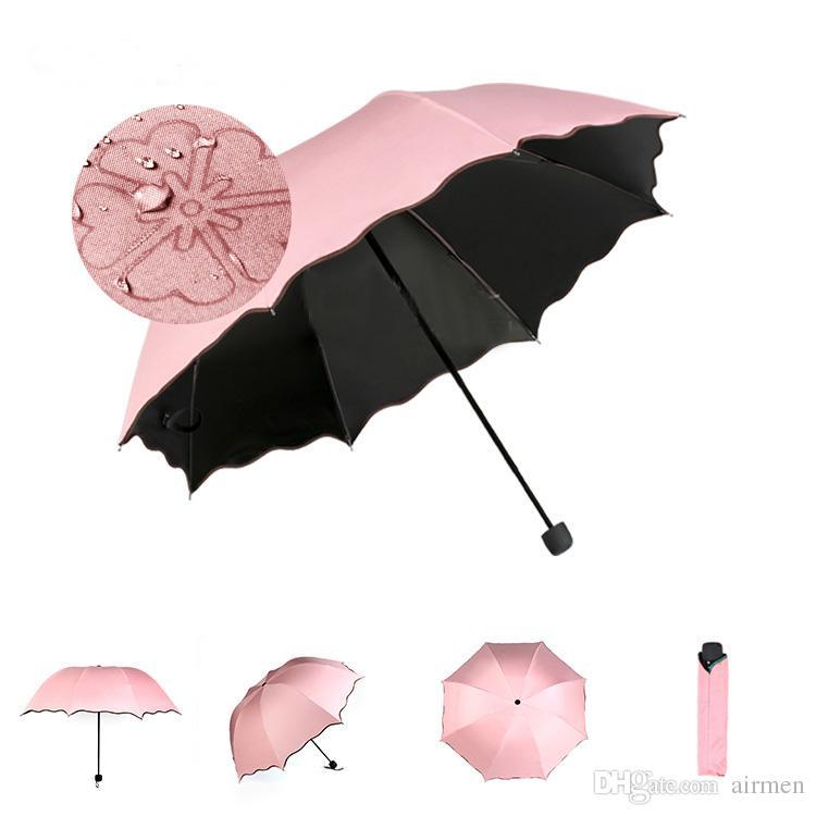 Magic Flower Bloom when Rain/Water Fall Sun&Rain Umbrella WindProof Compact Lightweight Color Ultraviolet-proof Umbrellas