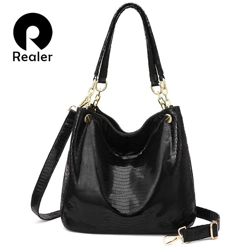 1712ff65b9 REALER Women Handbag Designer Hobo Shoulder Bag Female Animal Prints PU  Leather Top Handle Tote Bag Ladies Large Crossbody Bags D18102303 Cheap  Purses ...