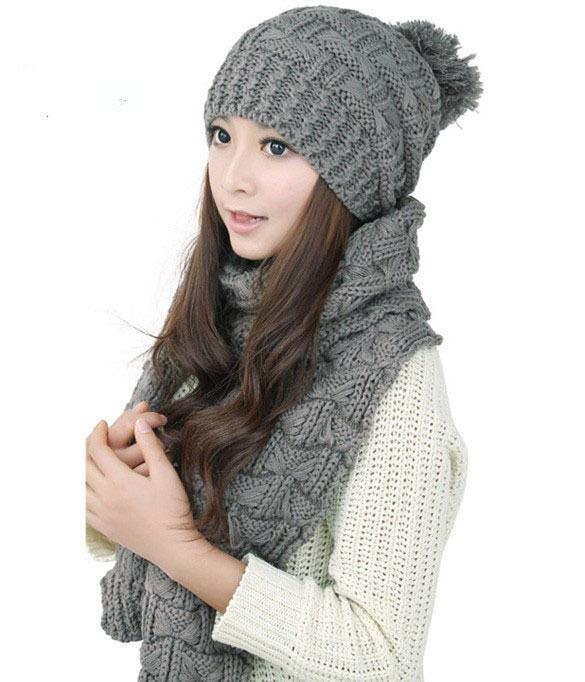 2018 Autumn Winter Scarf And Hats Sets For Women Thick Warm Knitted ... 307062f15fd5