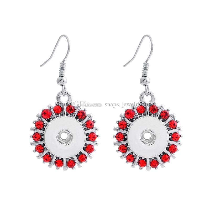 noosa trozos de diamantes de imitación chapado en plata 12mm botón a presión cuelgan los pendientes para las mujeres botón de jengibre joyería