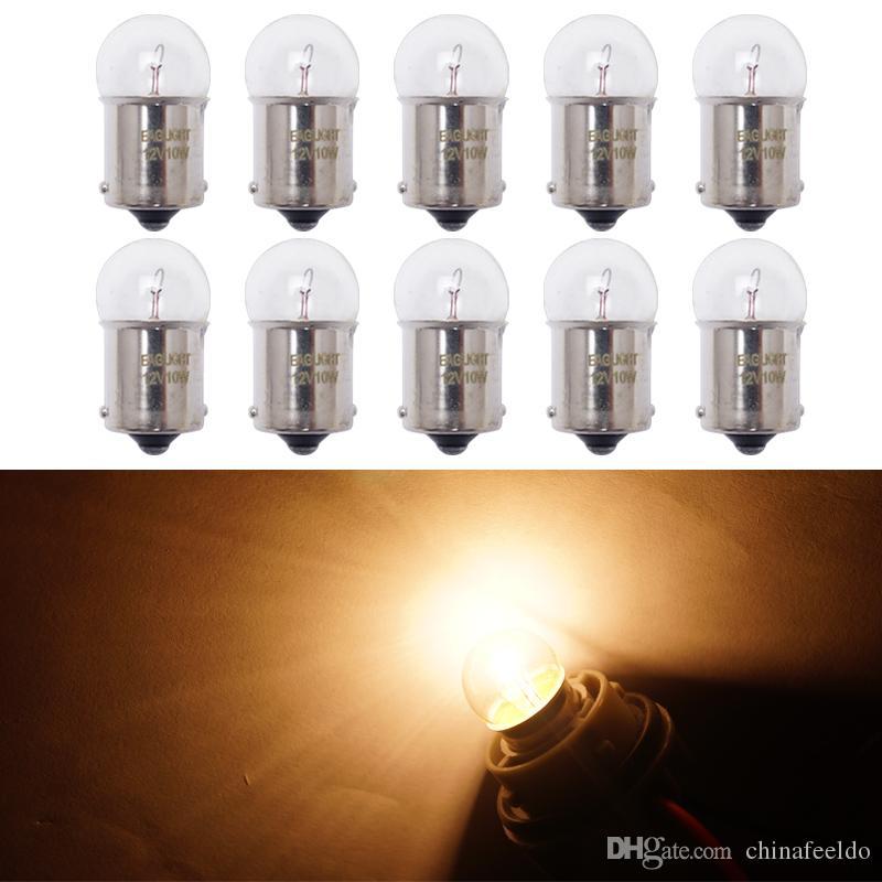wholesale 10pcs 1156 BA15S T16 12V 10W Car Clear Glass Lamp Turn Tail Bulb  Car Indicator Halogen Lamp #2723
